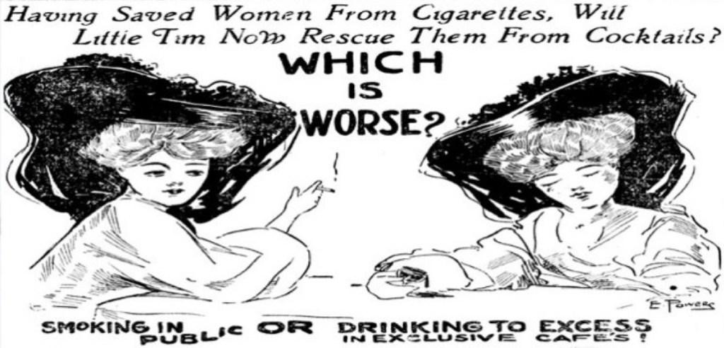 تحذير المرأة من التدخين في الأماكن العامة بمقاطعة سوليفان في نيويورك