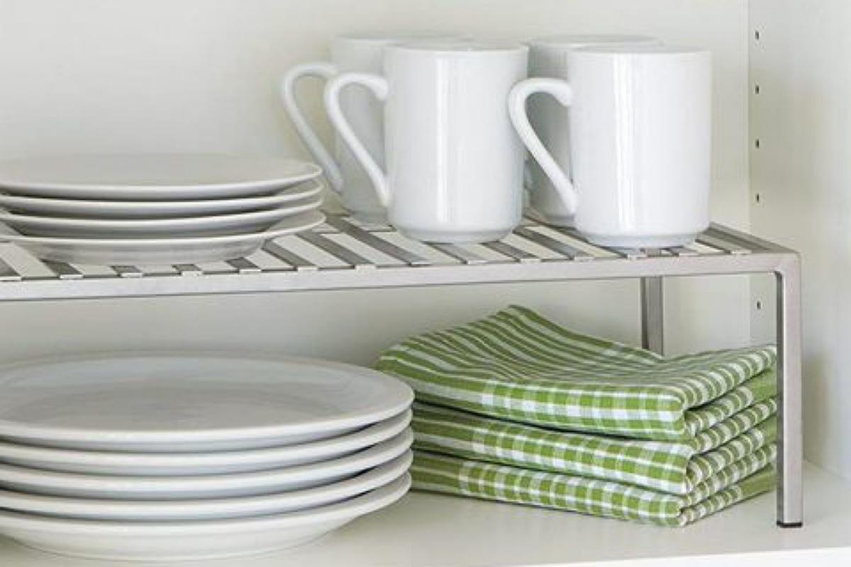 أدوات تنظيم المطبخ : رف خزانة قابل للتوسيع