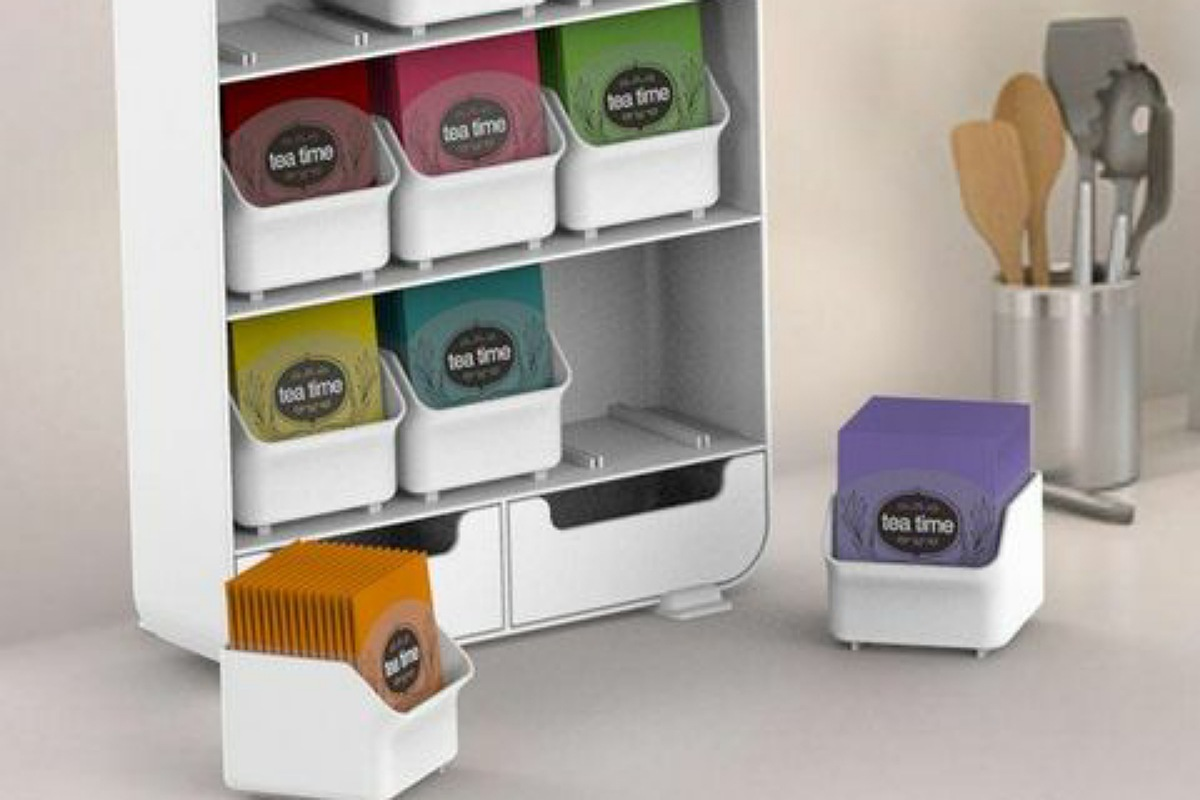 أدوات تنظيم المطبخ : منظم شاي بأدراج
