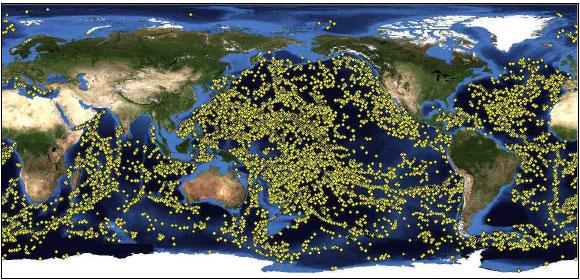 توزيع الجبال البحرية
